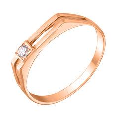 Перстень-печатка из красного золота с фианитом 000104109 18 размера от Zlato