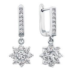 Серебряные серьги-подвески с фианитами 000118063 от Zlato