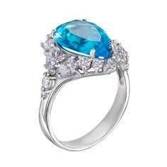 Серебряное кольцо с голубым кварцем и фианитами 000134334 18 размера от Zlato