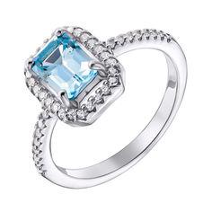 Серебряное кольцо с топазом swiss и фианитами 000133831 17 размера от Zlato