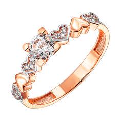 Золотое кольцо в комбинированном цвете с фианитами 000127989 16 размера от Zlato