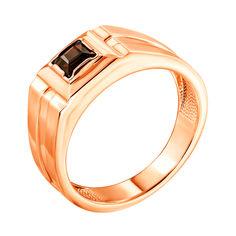 Перстень-печатка из красного золота с раухтопазом 000134118 19.5 размера от Zlato