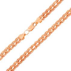 Золотая цепочка Британия в красном цвете плетения бисмарк с алмазной гранью 45 размера от Zlato