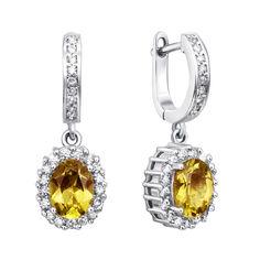 Серебряные серьги-подвески с желтым хризолитом и фианитами 000134867 от Zlato