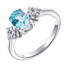 Серебряное кольцо с топазом и фианитами 000137400 17.5 размера от Zlato