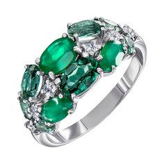 Серебряное кольцо с агатом, зеленым кварцем и фианитами 000137512 18.5 размера от Zlato