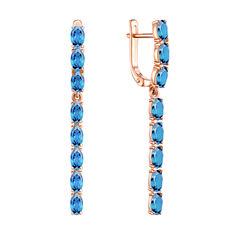 Серьги-подвески из красного золота с голубыми топазами 000137465 от Zlato