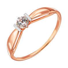 Кольцо из красного золота с кристаллом Swarovski и родированием 000138368 19 размера от Zlato