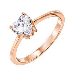 Золотое кольцо Граненое сердце с кристаллом Swarovski 17 размера от Zlato