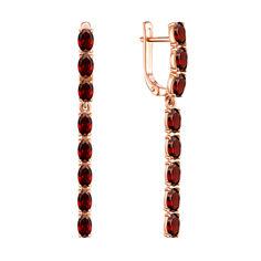 Серьги-подвески из красного золота с гранатами 000137466 от Zlato