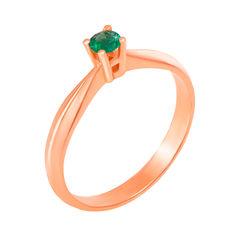 Кольцо из красного золота с изумрудом 000124850 16 размера от Zlato