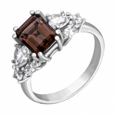 Серебряное кольцо с раухтопазом и фианитами 000124563 16 размера от Zlato