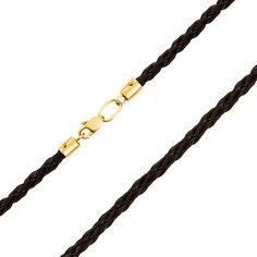 Плетеный кожаный шнурок Валенсия с золотым замочком в желтом цвете 50 размера от Zlato