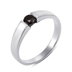 Кольцо из белого золота с черным бриллиантом 000124851 17 размера от Zlato