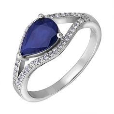 Серебряное кольцо с сапфиром и фианитами 000125027 16.5 размера от Zlato