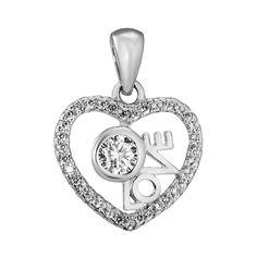 Серебряная подвеска Love с фианитами 000140612 от Zlato