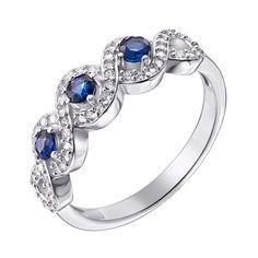 Серебряное кольцо с сапфирами и фианитами 000125565 18 размера от Zlato