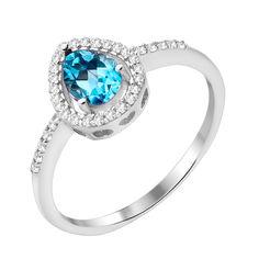 Серебряное кольцо с топазом и фианитами 000125607 18.5 размера от Zlato