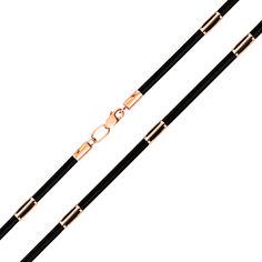 Каучуковый шнурок с золотыми вставками 000125981 50 размера от Zlato