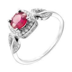 Серебряное кольцо с рубином и фианитами 000140357 15.5 размера от Zlato