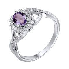 Серебряное кольцо с аметистом и цирконием 000139198 16.5 размера от Zlato