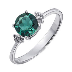 Серебряное кольцо с кварцем и цирконием 000141192 18 размера от Zlato