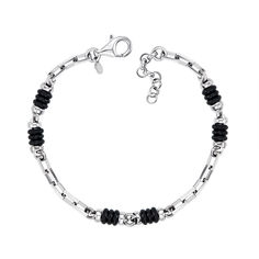 Серебряный браслет со вставками из черного каучука 000125495 18.5 размера от Zlato
