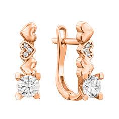 Золотые серьги Три сердечка в красном цвете с фианитами от Zlato