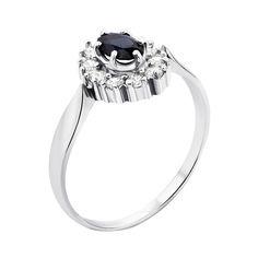 Серебряное кольцо с сапфиром и фианитами 000008147 16 размера от Zlato