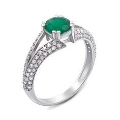 Серебряное кольцо с агатом и фианитами 000121477 18 размера от Zlato