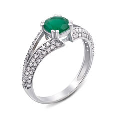 Серебряное кольцо с агатом и фианитами 000121477 18.5 размера от Zlato