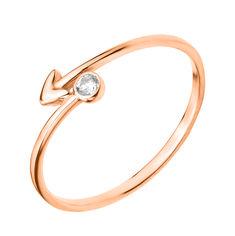 Золотое кольцо Стрела в красном цвете с цирконием 18.5 размера от Zlato