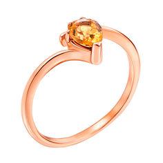 Кольцо из красного золота с цитрином 000131304 16.5 размера от Zlato