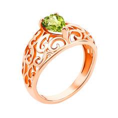Узорное кольцо из красного золота с хризолитом 000131324 16 размера от Zlato