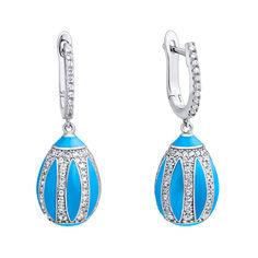 Серебряные серьги-подвески с фианитами и голубой эмалью 000136292 от Zlato