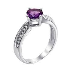Серебряное кольцо с аметистом и фианитами 000134902 18.5 размера от Zlato