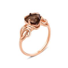 Кольцо из красного золота с раухтопазом 000131311 17.5 размера от Zlato