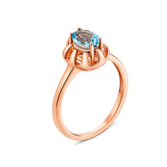 Кольцо из красного золота с голубым топазом 000131297 18 размера от Zlato