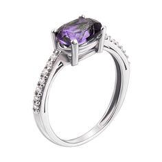 Серебряное кольцо с аметистом и цирконием 000139768 18 размера от Zlato