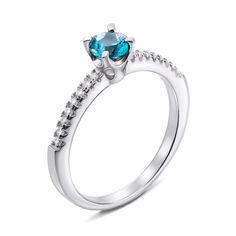 Серебряное кольцо с топазом и фианитами 000136793 17 размера от Zlato