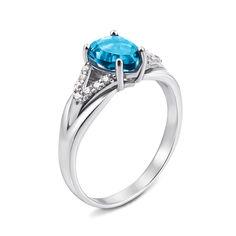Серебряное кольцо с голубым кварцем и фианитами 000135688 17.5 размера от Zlato