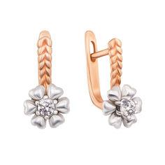 Золотые серьги в комбинированном цвете с фианитами 000130461 от Zlato