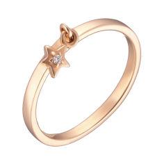 Кольцо в красном золоте с фианитом 000040748 17.5 размера от Zlato