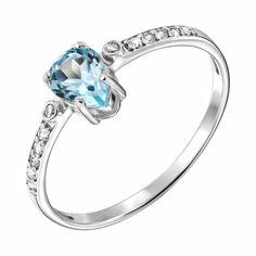 Серебряное кольцо с топазом и фианитами 000137846 19 размера от Zlato