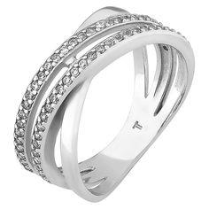 Серебряное кольцо с цирконием 000051858 16.5 размера от Zlato