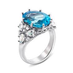Серебряное кольцо с голубым кварцем и фианитами 000135693 16.5 размера от Zlato