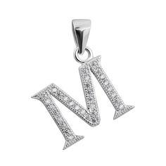 Серебряная подвеска Буква М с фианитами 000132508 от Zlato