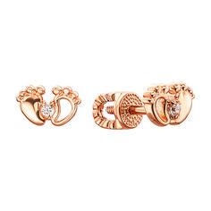 Серьги-пуссеты из красного золота с фианитами 000135439 от Zlato