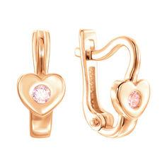 Серьги из красного золота с розовым цирконием 000139795 от Zlato