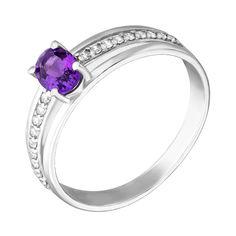 Серебряное кольцо с аметистом и фианитами 000140551 16.5 размера от Zlato